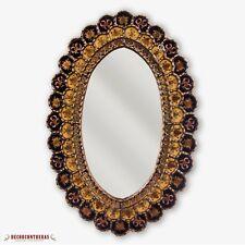 "Peruvian Oval Black Wall Mirror 30""x20"", Decorative Wall Mounted Gold Mirrors"