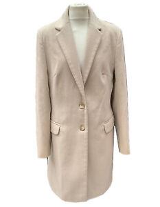 HELENE BERMAN Women's UK 14 Coat Tailored Overcoat Smart Work Business Sand