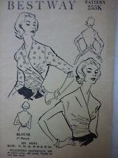 UNCUT VINTAGE 1950'S BESTWAY WRAP OVER BLOUSE WITH TIES SEWING PATTERN