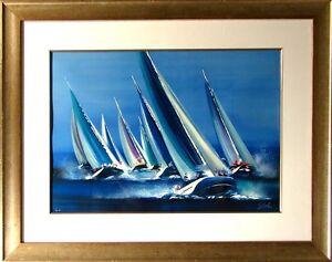 Victor Spahn Untitled Sailing blue framed HAND SIGNED FINE ART, SUBMIT OFFER