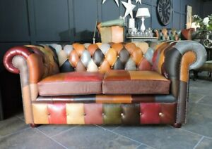 """Buffalo """"Club"""" Chesterfield 2 Seat Sofa Patchwork Harlequin Leather Queen Anne"""
