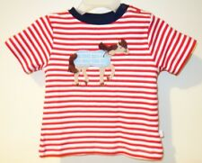NWT Bella Bliss Red/White Stripe Horse Applique Shirt Boy's Size 12 Month
