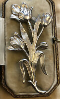 Vintage Sterling Silver Detailed Flower Spray Brooch