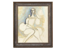 c1966 Seated Woman Oil on Canvas by Gueffen