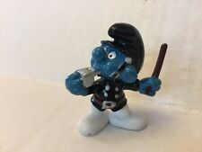 1981 Smurfs Schleich Hong Kong Peyo WB Police Billy Club Whistle Black Officer
