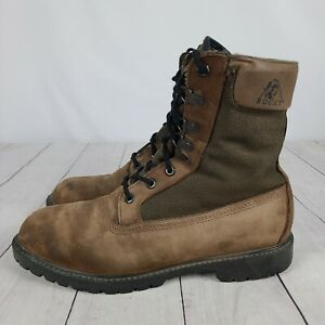 """Rocky Men's Size 9.5 EW Work Boots 8"""" Canvas / Nubuck Leather Brown Insulated"""