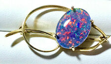 Triplet Opal BROOCH_925 sterling silver gold plated