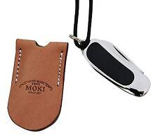 Moki knife TS-110 Pendant folding knife Mycarta w/ leather case