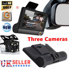 4'' Car DVR HD 1080P Dual Lens Dash 3 Cam Video Recorder G-sensor Rear Camera UK