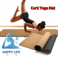 Black Natural 3-8MM Cork TPE Yoga Mat Non Slip Pilates Exercise Gym Workout Pad