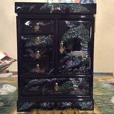 """Black Mirrored Fully Finished Lined Jewelry Box Mother of Pearl 15.5""""x11""""x 6.5"""""""
