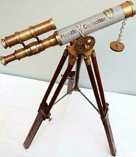 "Antique Brass Double Barrel 10"" Telescope With Tripod Stand Maritime Solid Gift"