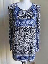 Gloria Vanderbilt Knit Top Royal Blue Black White Print Long Sleeve Size Med EUC