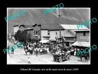 OLD LARGE HISTORIC PHOTO OF LILLOOET BC CANADA, THE MAIN STREET & STORES c1920