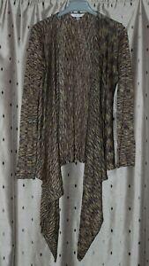 East Ladies Linen Mix Wrap Style Long Sleeve Cardigan ~ Size 10