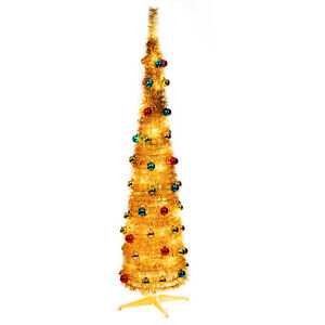 6ft Pop-up Gold Indoor Xmas Christmas Tree With Decorations 60 Warm White LED