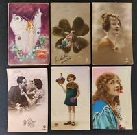 Belle Epoque France Romantic Novelty Postcards (6) w/ Love Letters