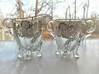 Cambridge Glass Silver Floral Overlay Footed Creamer & Open Sugar Bowl