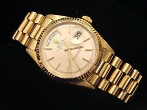 Mens Rolex Day-Date President Solid 18K Yellow Gold Watch Silver Vintage 1803