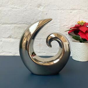 Silver Abstract Swirl Sculpture Statue Home Decorative Large Ceramic Ornament
