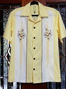 Men's Vintage 50's Rockabilly Embroidered Charlie Harper /Sheen St Bowling Shirt