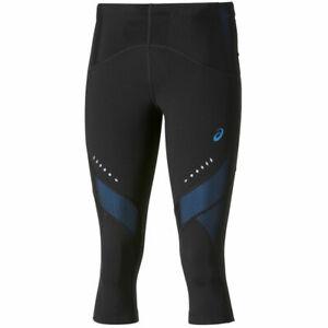 ASICS Women's Knee Tights Sports Running Leg Balance Tights - Black/Blue - New