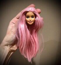 Pink long hair Barbie doll head reroot