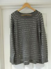 ORIGINALS Jumper Grey Cable Knit & Silver Sequins/Thread Long Sleeve Size Large