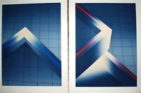 Pair of Limited Edition Silkscreen Prints by Phil Griffin Blue Neon / Red Neon