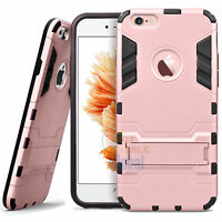 """For iPhone 6 6S 4.7"""" / 5.5"""" Plus Hybrid Rubber Hard Case Cover with Kick-Stand"""