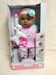 My Sweet Love Sweet Baby Pink Top with Stuffed Unicorn 14 inch doll NEW