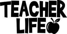 5.5in Teacher Life Apple Decal Window Sticker Car Decor School Kids Teach Love.
