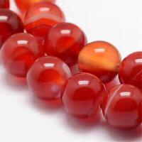 Natürliche Streifen Achat Perlen Rund Indische Rot 8mm Edelsteine G724