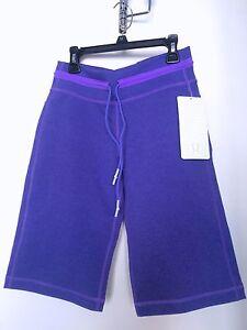 New Lululemon Purple Sweat Knee Length Capri Shorts Pant Size 4
