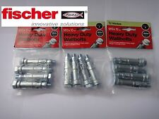 WICKES / FISCHER HEAVY DUTY WALL BOLTS M10 x 10mm PACK OF 12 SATIN ZINC FINISH