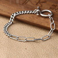 New Pure 925 Sterling Silver 5mm Cable with Curb Link Bracelet 17cm L