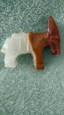 Vintage Hand Carved Brown & White Marble Onyx Donkey Burro Figure Mexico