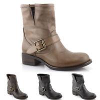 Stivali donna stivaletti biker boots invernali in pelle neri grigi marroni  ITALY 0f8a079d2cc