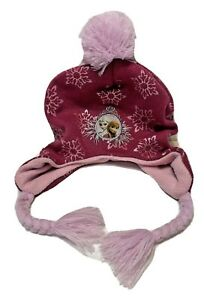 Disney Frozen Anna And Elsa Winter Hat Beanie Pink Snowflakes One Size Fits Most