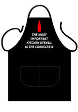 "MENS,WOMENS,UNISEX,BLACK PRINTED NOVELTY APRON ""IMPORTANT KITCHEN TOOL"" AS ADULT"