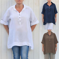 Womens Long Sleeve Buttons Blouse Oversized Loose Solid Casual Shirt Top T-shirt