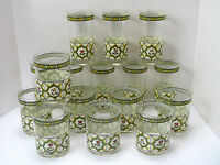 16 Cera VICTORIAN FLOWERS Iridescent Floral High Ball & Old Fashioned Tumblers