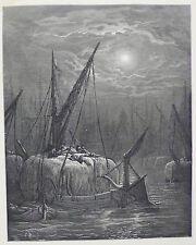 """Doré-Londres; """"hay-barcos en el Támesis's, antiguo grabado en madera, C.1870"""