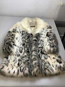 Women's Vintage Jordache Black & Ivory Faux Fur Coat Size XL, Made in USA