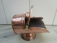 VINTAGE COPPER AND BRASS HELMET COAL SCUTTLE WITH SHOVEL