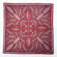 Vintage Scarf Handkerchief Red Wine Cotton Geometric Floral Pattern Bandana