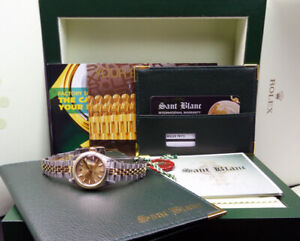 ROLEX Ladies 18kt Gold & Stainless DateJust Champagne Index 79173 SANT BLANC