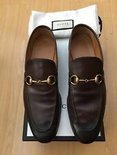 GUCCI MENS SHOES BROWN LEATHER JORDAAN HORSEBIT SNAFFLE LOAFERS UK 9.5 43.5