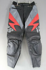 IXS BLACK, SILVER & RED LEATHER BIKER TROUSERS: WAIST 32 INCH/INSIDE LEG 29 INCH