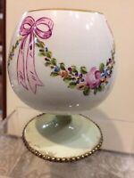 Vintage Antique Hand Painted Flower Ribbon Bowls Vase Planter